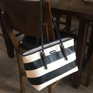 Dana Buchman Black & White Stripes Tote Bag